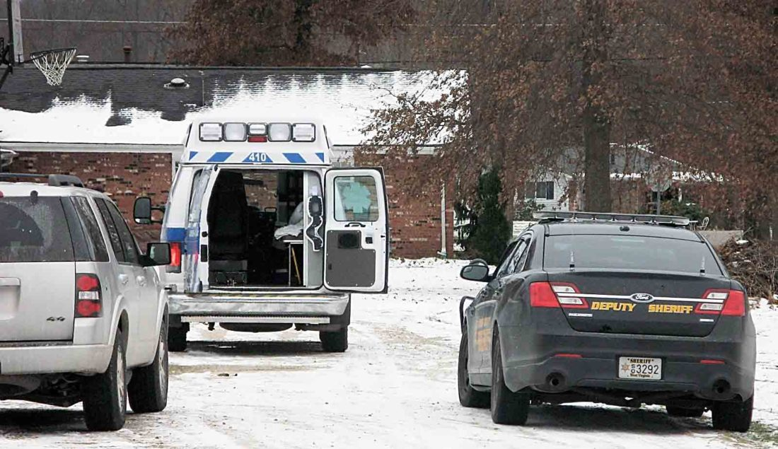 An ambulance waits at the scene of a shooting at a mobile home on Nova Road in Mineral Wells. Two people died, one at the scene and the other during surgery at Camden Clark Medical Center, Wood County Sheriff Steve Stephens said. Suspect Jeff Sampson, 46, was arrested after a pursuit by West Virginia State Police on Interstate 79 in Braxton County.