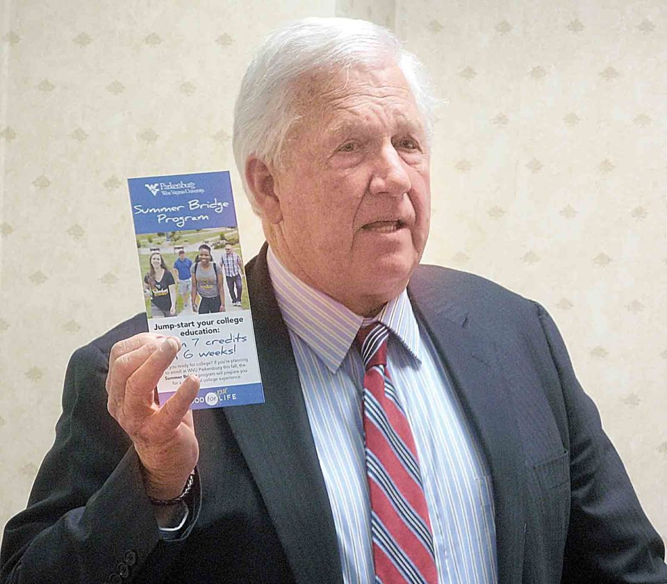 Photo by Jeffrey Saulton West Virginia University at Parkersburg President Fletcher Lamkin discusses new programs at the college during the WVU-P Board of Governors meeting Wednesday.
