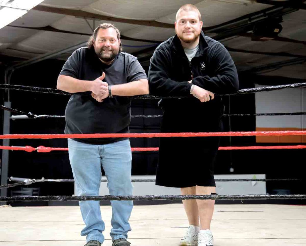 Photo courtesy of Graham Godwin West Virginia Wrestling Alliance owner Greg Shriver, left, and local businessman Graham Godwin have teamed up to start the West Virginia Wrestling Alliance School of Professional Wrestling at 102 12th St. in Vienna.