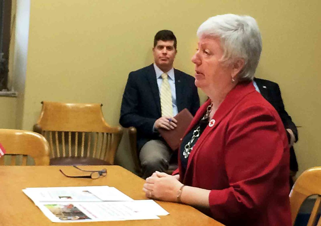 Sharon Kesselring, executive director of the American Red Cross of Northwest West Virginia, discusses the agency with the Wood County Commission Monday. (Photo by Brett Dunlap)