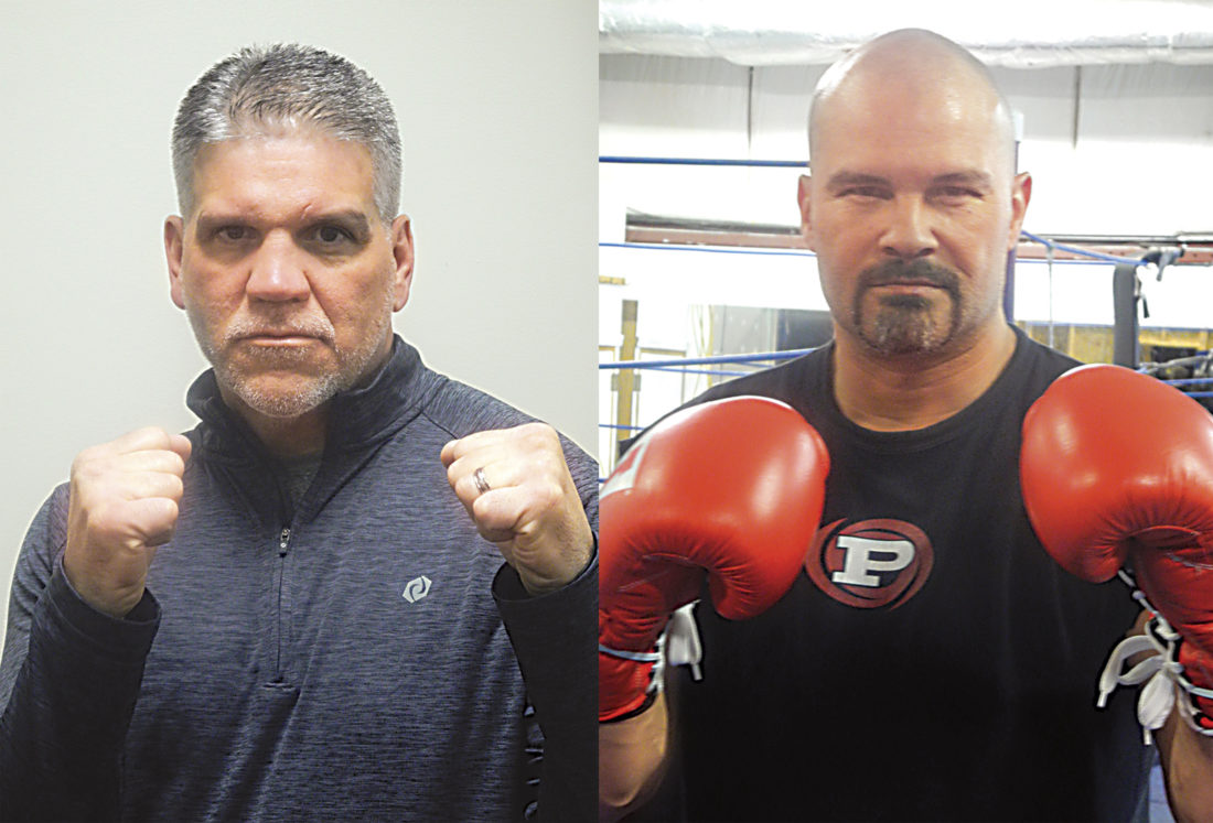 """Gary Wolfe (left) and Dave McNemar (right) will clash in the Wolfe vs. McNemar II main event of """"A Battle of the Ages"""" boxing card Saturday night at PHS Memorial Fieldhouse. The two Parkersburg fighters will square off in a rematch of their battle for the state light-heavyweight championship 20 years ago at PHS. Photos by Steve Hemmelgarn."""