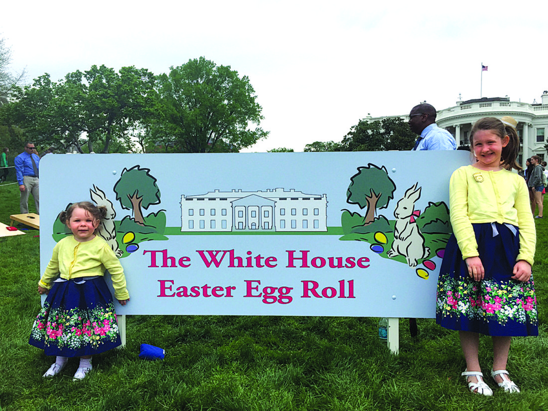 Photo Provided McKenzie and Madeline Lore of Parkersburg participated in the White House's Easter Egg Roll on Monday.