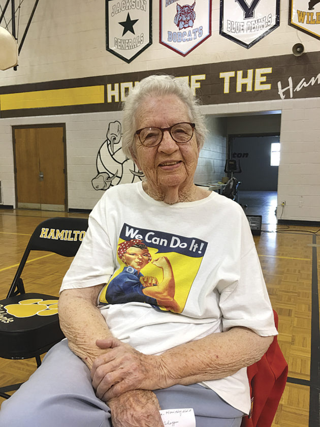 "Photo by Michael Erb Marietta resident Neva Rees worked as a ""Rosie the Riveter"" during World War II, constructing engines for blimps used for reconnaissance during the war. Rees told her story to Hamilton Middle School students Thursday."