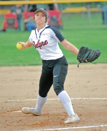 Belpre's Katie Osburn pitches in the Golden Eagles' 13-3, five-inning Ohio Division IV sectional-championship win over South Webster Thursday afternoon at Civitan Park. Photo by Steve Hemmelgarn.
