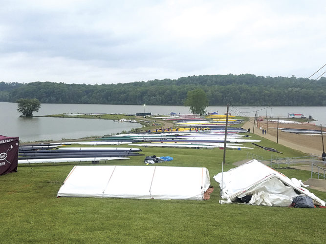 Crew teams prepare shells along Dillon Lake Friday for this weekend's competition involving more than 46 crew teams. Parkersburg, Parkersburg South and Marietta will be competing. Photo courtesy of Justin Womack.