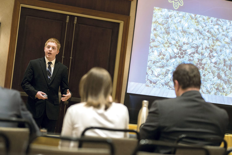 Photo Provided Matthew Byrd makes his final presentation to a panel of judges April 21 in the West Virginia Statewide Business Plan Competition. He won a $10,000 grand prize in the Hospitality and Tourism category.