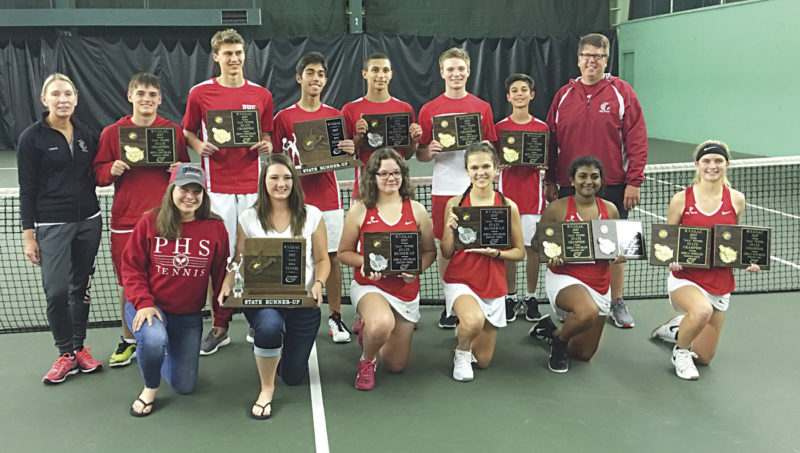 Parkersburg High School celebrates after taking home second place in both Class AAA boys and girls tennis Saturday inside Kanawha City's Tennis Indoor Center. Pictured in the front row from left to right: Alex Olson, Ashley Casto, Bre Offenberger, Zoe Pingley, Bairavi Sundaram, Lauren Kruger; back row: co-head coach Heidi Asbury, Eric Carney, Andrew Gnegy, Neema Saadevandi, Zarion Jones, Ethan Weaver, Seena Saadevandi and co-head coach Jeff Olson. Photo provided.
