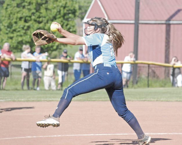 Frontier's Sammi Morris pitches during Tuesday's high school softball district semifinal against Strasburg-Franklin at Meadowbrook High School in Byesville. Frontier lost, 11-0. Photo by Mike Morrison.