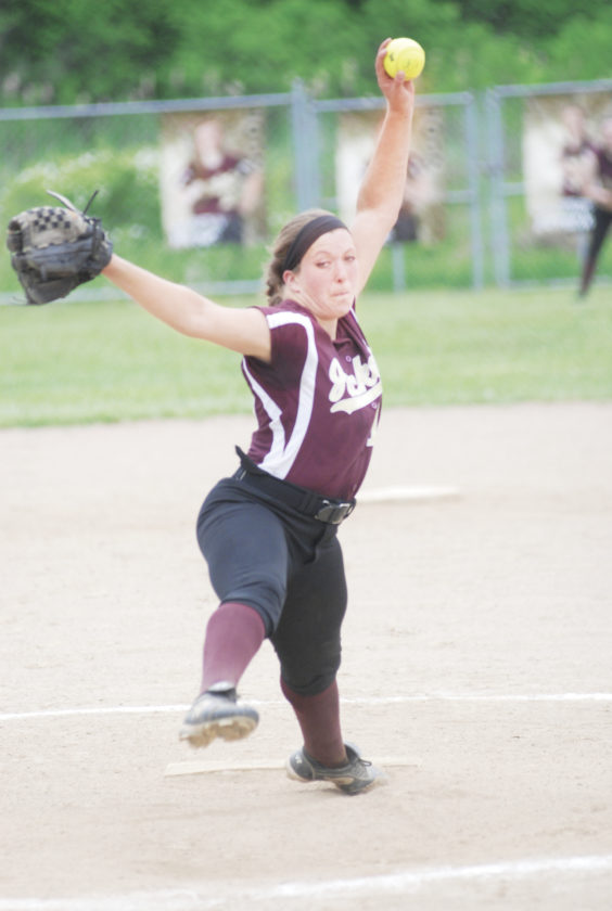 Williamstown hurler Nellie King delivers a pitch to home plate during a regional tournament game against Sherman.