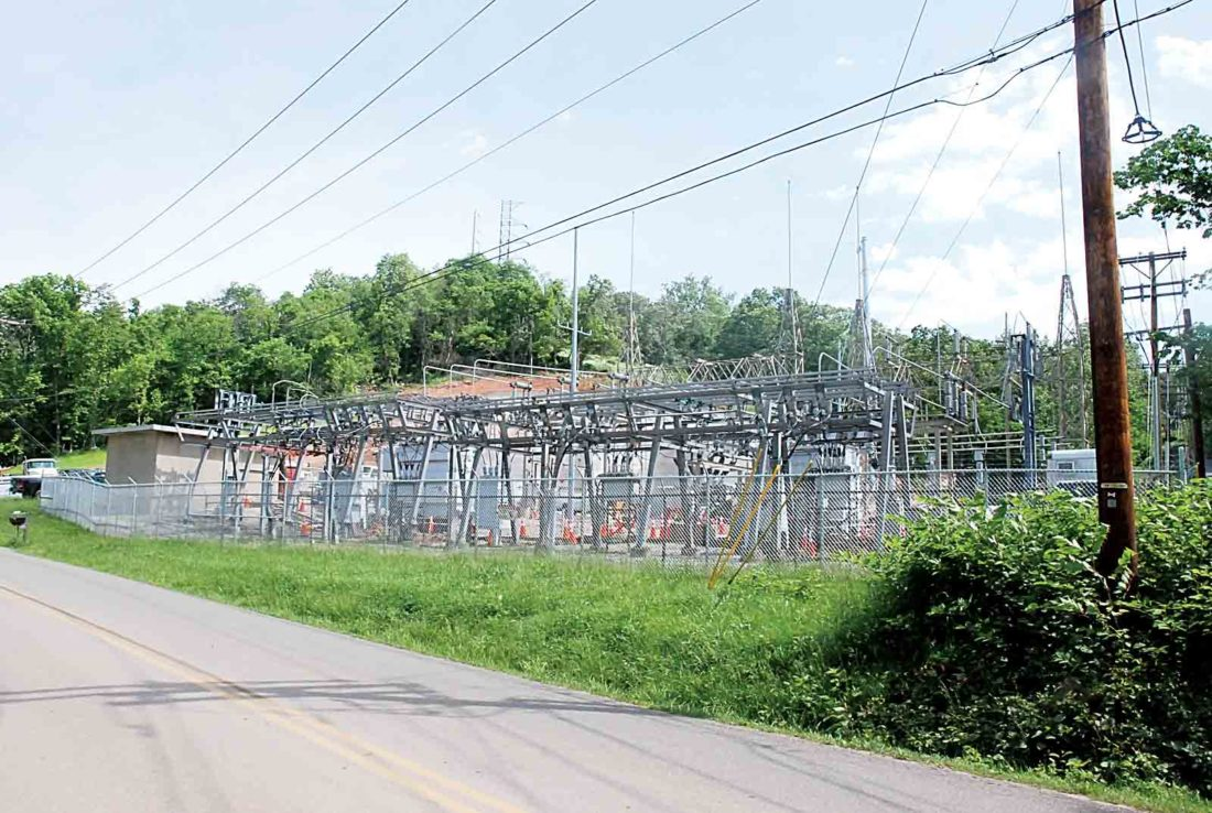 Photo by Evan Bevins An excavator operated by a contractor accidentally pulled down a transmission line near the AEP Ohio substation shown here on Congress Road near Clement Avenue in Belpre Thursday.