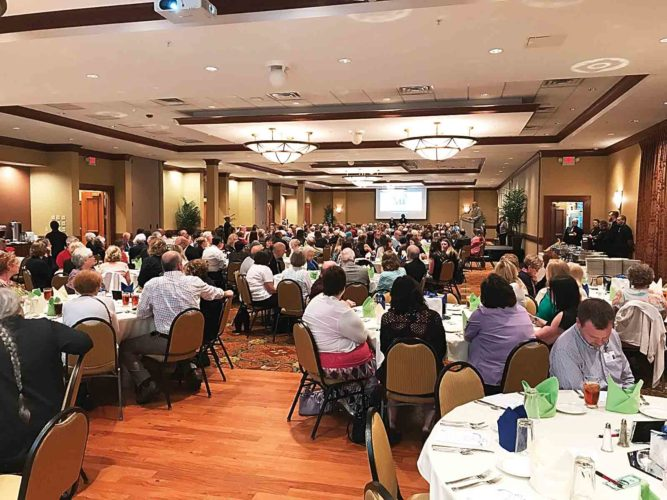 Photo Provided The FaithLink annual fundraiser drew 300 people on April 27 at the Grand Pointe Conference Center. Keynote speaker was Becky Mathis-Stump.