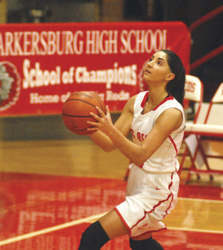 Parkersburg High's Hannah Carroll prepares to shoot during a regular-season game earlier this year. Carroll, a senior, committed to Muskingum College to continue her academic basketball career.