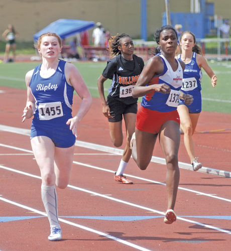Ripley's Allison Fields posted a winning time of 25.68 in the Class AAA 200 to edge out Morgantown's Jahmia Bridges-Butler's runner-up effort of 25.81.