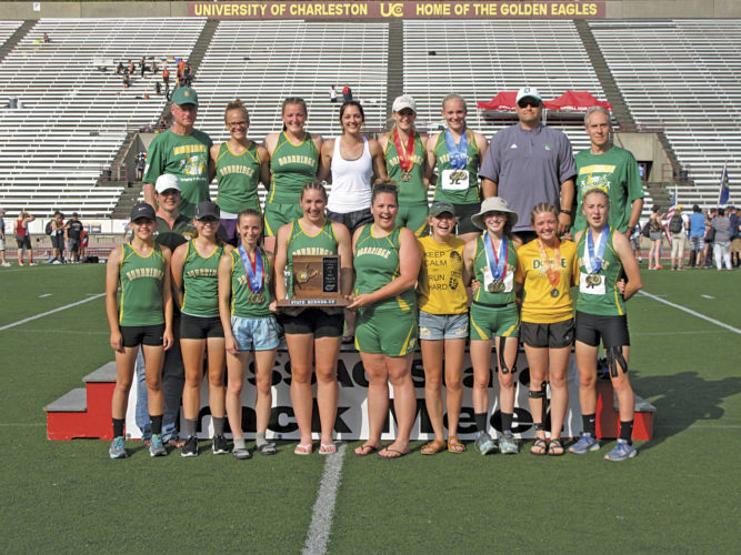 The Doddridge County girls track team were runners-up at the West Virginia State track tournament Saturday in Charleston. Photo by Jay W. Bennett.