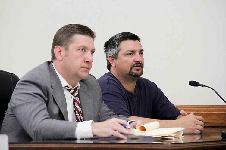 John Clark Nelson III, 43, of 2396 Woodruff Road, Vincent, right, appears in Washington County Common Pleas Court for sentencing Thursday with his attorney Eric Fowler. (Photo by Janelle Patterson)