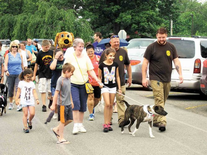 File Photo Atticus, a dog taken to the Humane Society of Parkersburg nearly dead from abuse and starvation and later restored to health, led last year's Walk Your Paws parade at City Park in Parkersburg. This year's Elinor K. Ross Walk Your Paws will be Saturday.