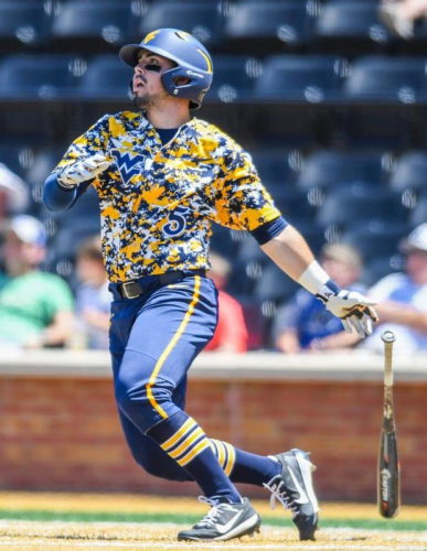 Photo courtesy of WVUsports.com West Virginia's Kyle Davis watches a home run ball during a college baseball against Maryland Friday in Winston-Salem, N.C. West Virginia won, 9-1.