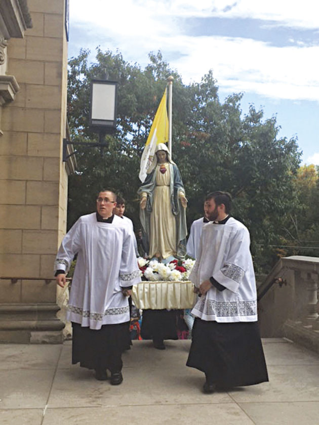 Photo provided by Tammi Bradley  A youth conference held in October with Bishop Jeffrey Monforton included a Procession March that will be similar to the event coming up at the Basilica of St. Mary of the Assumption on June 24.