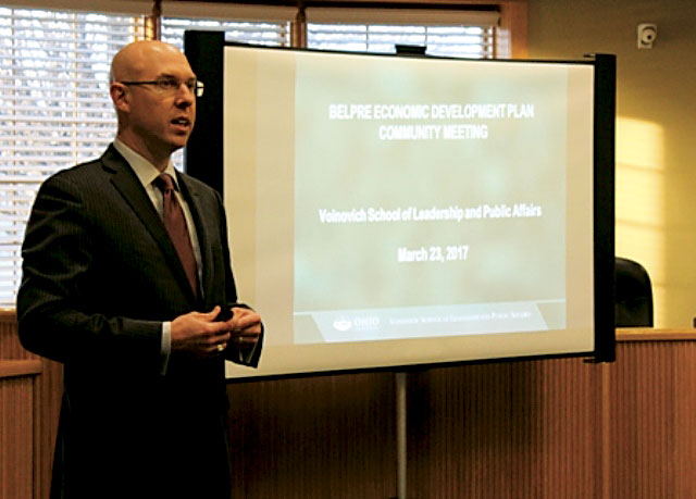 Photo Provided Dr. Jason Jolley, with Ohio University's Voinovich School of Leadership and Public Affairs, talks about the economic development study being conducted for Belpre at a March meeting in Belpre. A town hall meeting to unveil the plan will be 7 p.m. Thursday at the Belpre Senior Center.