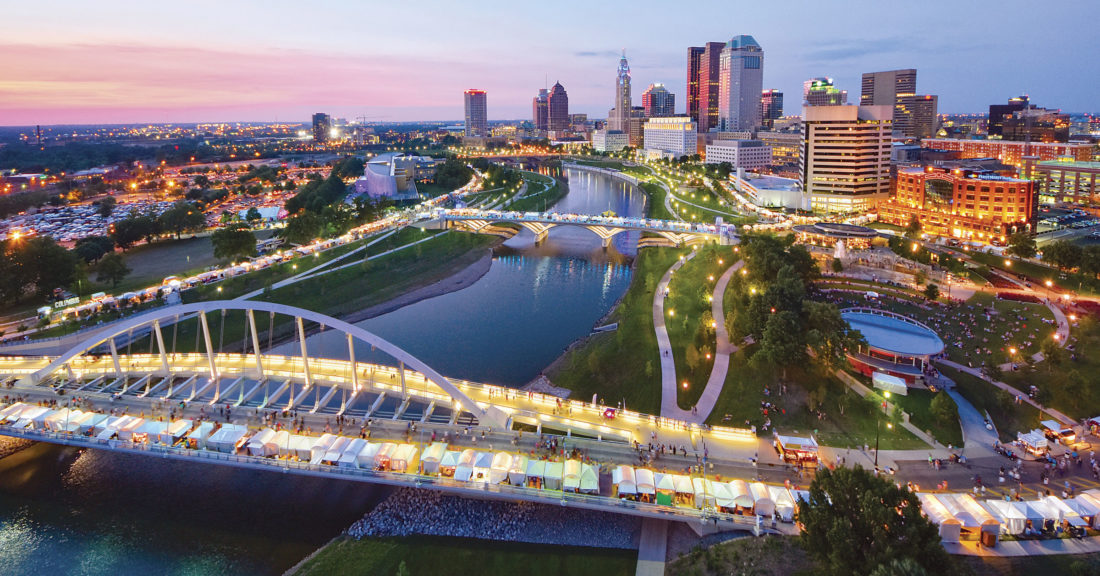 Photo courtesy ExperienceColumbus.com The Columbus Arts Festival along the Scioto Mile is shown. Scioto Mile offers plenty of walking and biking paths for families to enjoy.