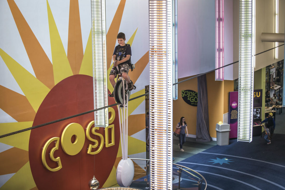 Photo courtesy ExperienceColumbus.com The High Wire Unicycle at COSI, center of science and industry, is the only one in the world and challenges guests to ride a unicycle across an 84-foot cable while 17 feet above the ground.