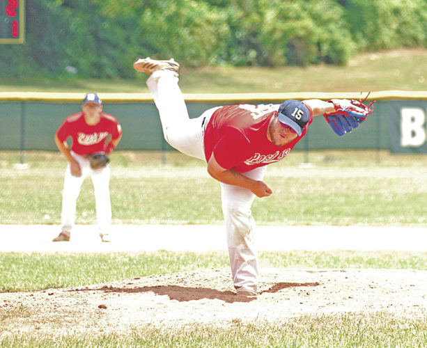 Parkersburg Post 15's Wade Garrett pitches during an American Legion baseball game Saturday against Athens Post 21. Photo by Steve Hemmelgarn.