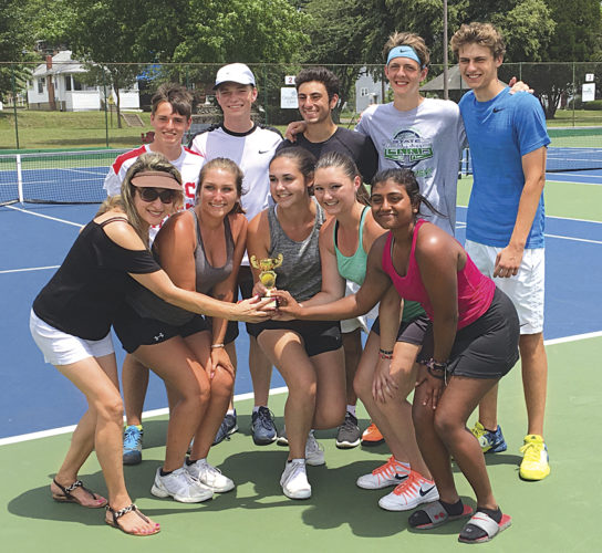 Members of the Mid-Ohio Valley Tennis Association's Ohio Valley Cup team celebrate after winning the small city division of the event Sunday at Parkersburg's City Park. Pictured in the front row from left to right: Lucy Holland, Alli Barber, Katie Athey, Ashley Casto, Bairavi Sundaram; in the back row (L to R): Eric Carney, Ethan Weaver, Shayan Ghodsi, Nash Morris, and Andrew Gnegy.  Photo by Joe Albright.