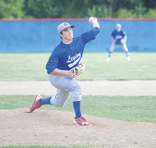 Beverly/Lowell lefty Tyler Bradford delivers a pitch Tuesday night in an American Legion baseball game in Beverly. Bradford blanked St. Clairsville Post 159 on two hits and struck out 10 as Post 389/750 rolled to a 10-0 win. Photo by Mike Morrison.