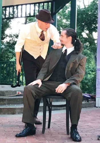 """Photo Provided Actors rehearse the Shakespeare by the River production of """"The Merchant of Venice"""" this week."""