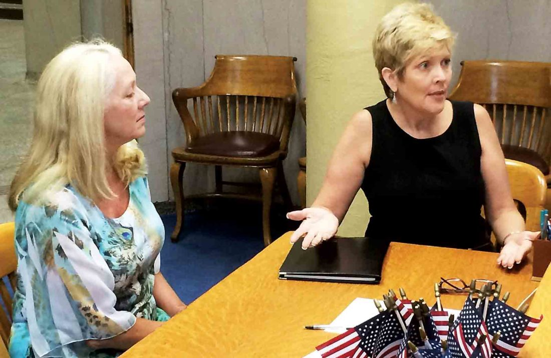 Renee Dilly and Stephanie Detrio talked with the Wood County Commission on Thursday about problems they have been facing with canceled flights at the Mid-Ohio Valley Regional Airport. (Photo by Brett Dunlap)
