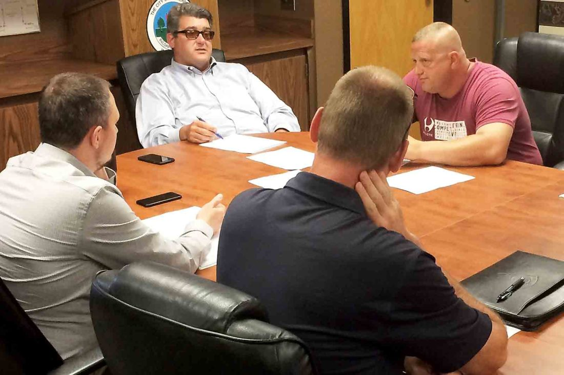 Parkersburg Mayor Tom Joyce met with representatives from the Parkersburg Police and Fire pension boards Thursday to discuss options in closing the city pension plan and having new hires join a pension plan administered by the state. (Photo by Brett Dunlap)