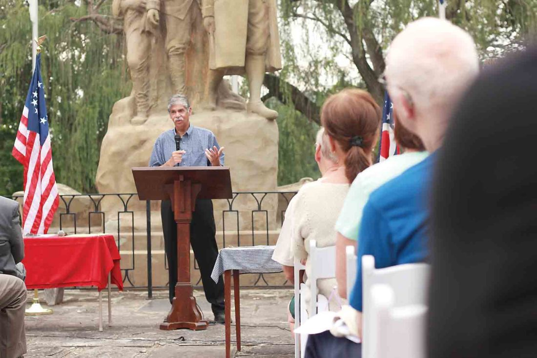 Photo by Janelle Patterson Denver Norman, of Zanesville, Ohio, explains how his mixed-race relatives benefited from the signing of the Northwest Ordinance of 1787 at the 230th Anniversary Celebration of the document in Marietta Thursday.