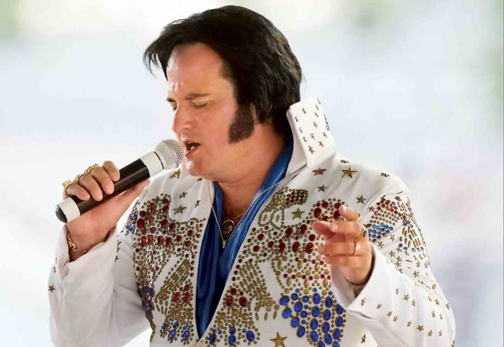 Photo courtesy of Danny Carpenter Elvis Presley tribute artist Jim Forshey of Parkersburg will be performing at 8 p.m. Aug. 4, rain or shine, in Parkersburg City Park's horseshoe shelter.