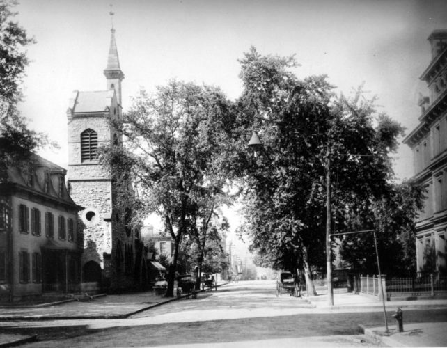 Photo Provided The Trinity Episcopal Church, built in 1878 and the rectory next door, built in 1863,  have changed little since this photo was taken around 1898 from the middle of Juliana Street looking southwest toward the Little Kanawha River. Juliana Street is now a major artery through Parkersburg. If you have a historical photo of the Parkersburg area, submit it to Art Smith at asmith@newsandsentinel.com for possible inclusion on this page.