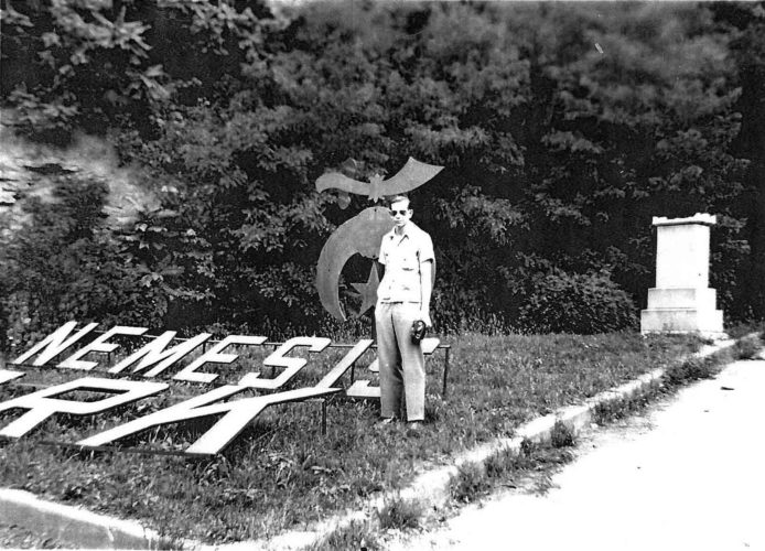 An unidentified man poses at the entrance to the Nemesis Park off the old Marrtown Road. Though now secured, the same entrance remains. The Nemesis Temple purchased the Fort Boreman hilltop in 1927 and created a park that was used for several years. (Photo Provided)