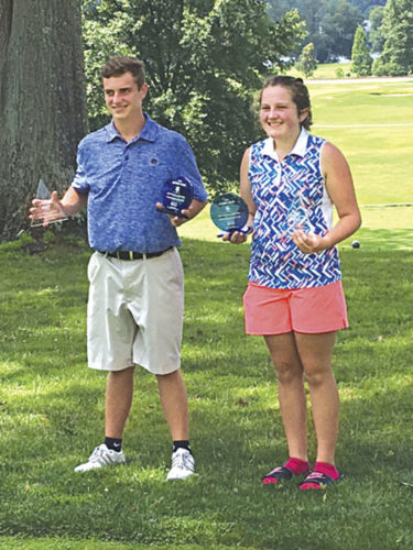 Parkersburg High's Isaac Prine and Ritchie County graduate Sydney Brill celebrate winning the final West Virginia Callaway Junior Tour event Monday at the Parkersburg Country Club in Vienna. Both players also shot the lowest rounds of the day from any golfer in the field. Photo by Joe Albright.