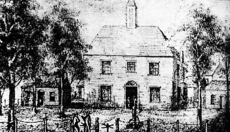 Image Provided This pen drawing, by J.H. Diss Debar, depicts the third Wood County courthouse. Erected in 1817, it was the first located at what we know today as court-square. The first courthouse was at Hugh Phelps' house and the second courthouse was a two-story log building near the Point.