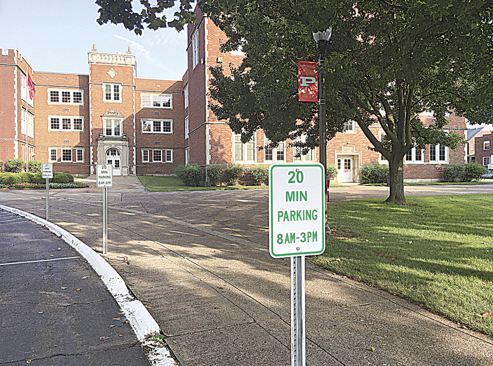 Photo by Michael Erb Expanded visitor parking and new banners are just some of the changes which will greet returning and new students Wednesday at Parkersburg High School.
