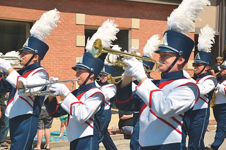 Photo by Brett Dunlap The Parkersburg South High School Marching Band was among the unites moving along Market Street on Saturday afternoon during the Parkersburg Homecoming Parade.
