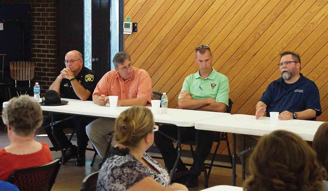 The Community Service Council Tuesday held a roundtable of law enforcement officials and first responders to address substance abuse in the Mid-Ohio Valley. The roundtable featured Wood County Sheriff Steve Stephens, left, Wood County E911 Director Rick Woodyard, center left, Sgt. Mike Stalnaker, center right, of the Parkersburg Police Department detective bureau and Eric Criss, right, a paramedic with the West Virginia Medical Coordination Center. (Photo by Michael Erb)