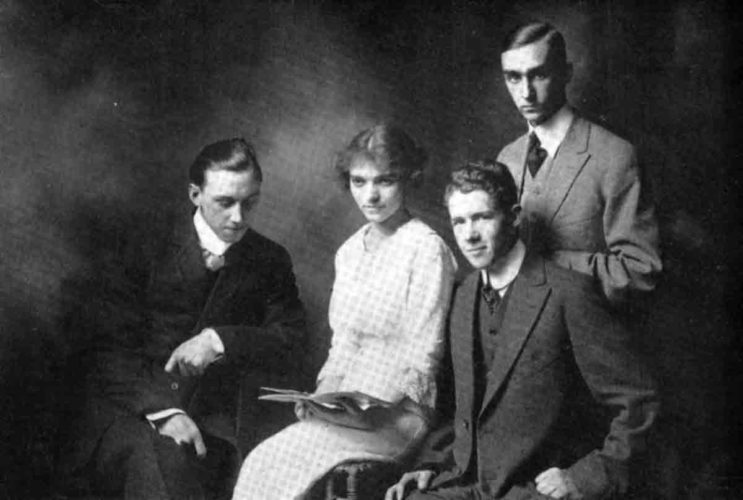 "Photo from the 1913 Commencement issue of ""The Quill"" 1913 Senior Class Officers of Parkersburg High School, from left,  Edmund J. Crowe,  Eva Hall,  Francis S. Gibson, and Charles Daniels. This would have been one of the last classes to graduate from the high school at Seventh and Green streets. There were 64 graduates that year. In October of 1913, two photographs were taken of students in front of the school.  One was a panoramic photo and the other was a ""moving picture"" photo that was to be exhibited in a local theater."