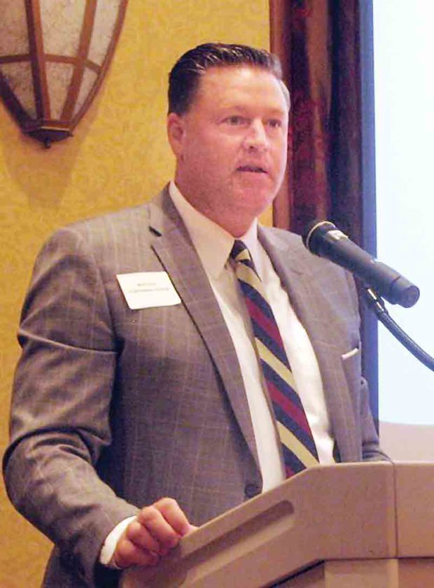 Aaron Stone, chairman of the United Way Alliance 2017-18 campaign, speaks Tuesday morning during the annual Community Leaders Breakfast at the Grand Pointe Conference Center. (Photo by Jess Mancini)
