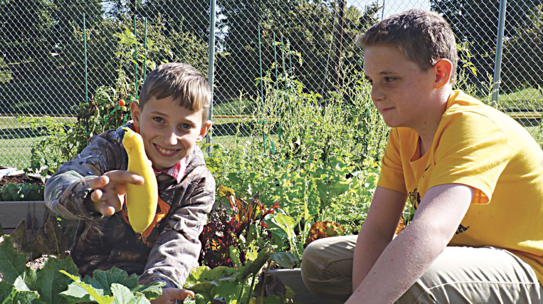 Photo by Michael Erb Edison Middle School sixth-grader Trenton Byrd, left, holds up a squash he and eighth-grader Caleb Lucas, right, picked Friday in the school's community garden. The garden is primarily run by students and is part of the school's STEM program.