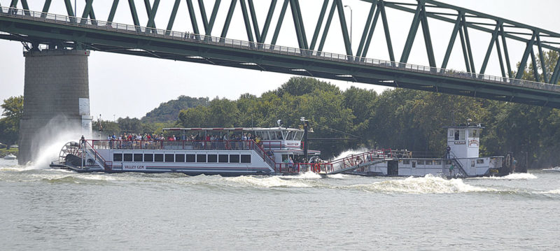 Photo by Brett Dunlap The Valley Gem and the Major sternwheelers raced along the Ohio River Sunday towards the end of the 2017 Ohio River Sternwheel Festival in Marietta.