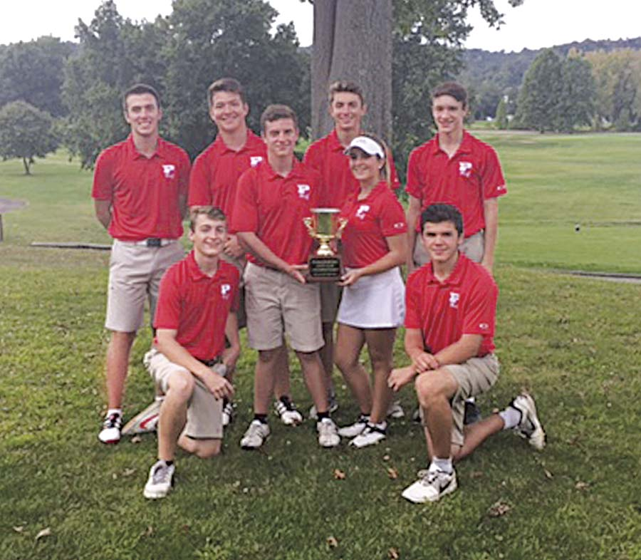 Parkersburg High captured the Parkersburg City Cup back from Parkersburg South, 4.5 points to 3.5 points, Tuesday at the Parkersburg Country Club in Vienna. Pictured with the City Cup from left to right in the front row: Jackson DeVol, Isaac Prine, Nicole Lincicome, Dylan Shaver; back row (L to R): Trey Rossana, Garrett Ballway, Carter Stone and Daniel Wharton.
