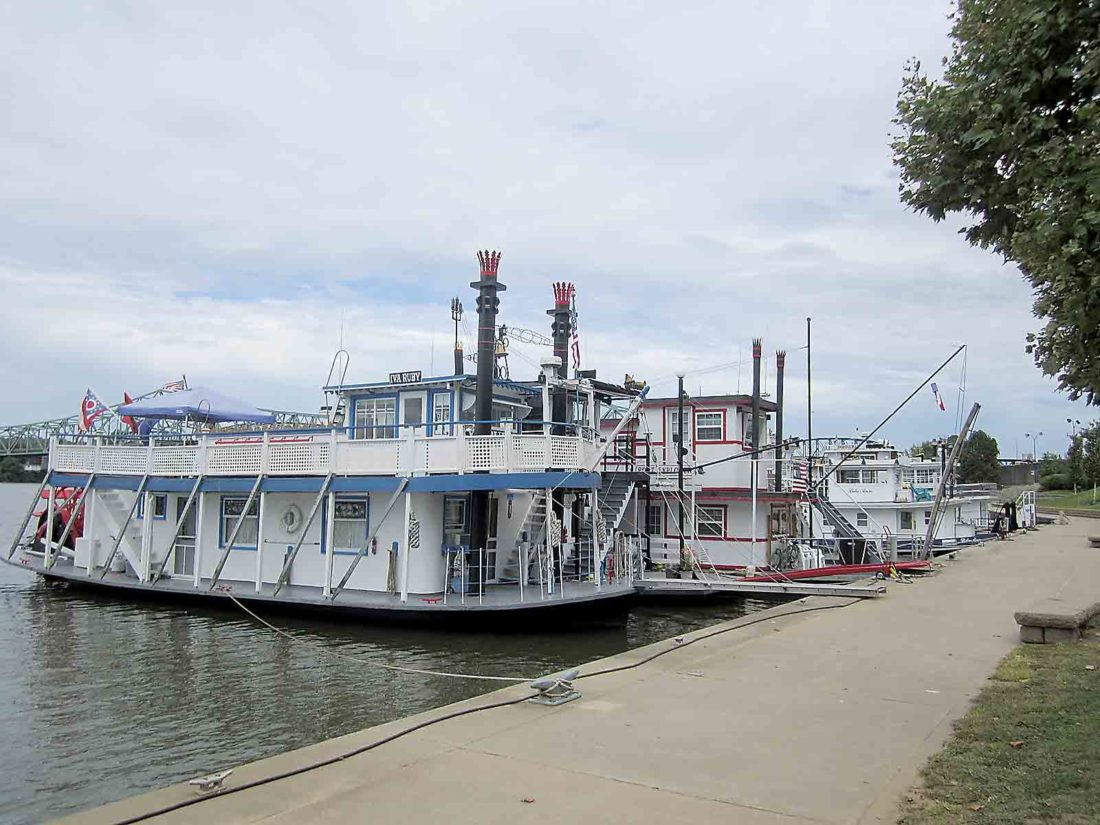 Sternwheelers are docked at Point Park this week in preparation for the first Riverfest on Friday and Saturday, one of several activities taking place this weekend in downtown Parkersburg. (Photo by Wayne Towner)