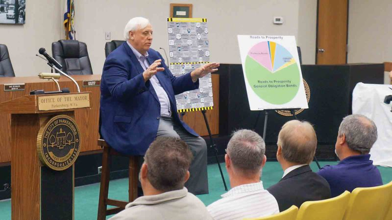 West Virginia Gov. Jim Justice spoke Friday in Parkersburg, drumming up support for the Roads to Prosperity bond which goes before voters in October. (Photo by Michael Erb)