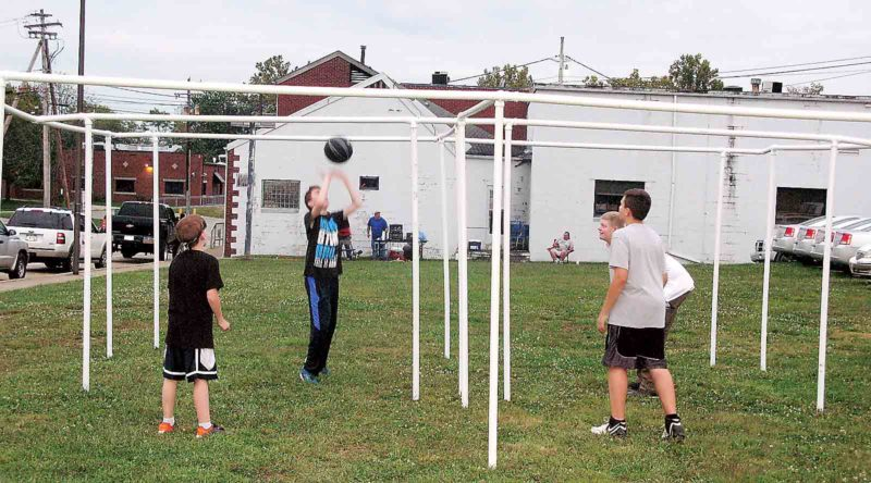 Playing a game of volley square during the Youth Fest were, from left, Timothy Cronin, Nate Pullman, Parker Glodowski and Jacob Baker. (Photo by Jeffrey Saulton)