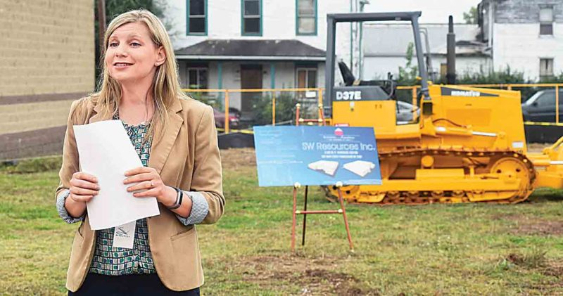 SW Resources President and CEO Terah Klein addresses the gathering Friday morning for the groundbreaking of its new warehouse, which Klein stated she hoped all exterior work will be finished by Jan. 1, 2018. (Photo by Jeff Baughan)