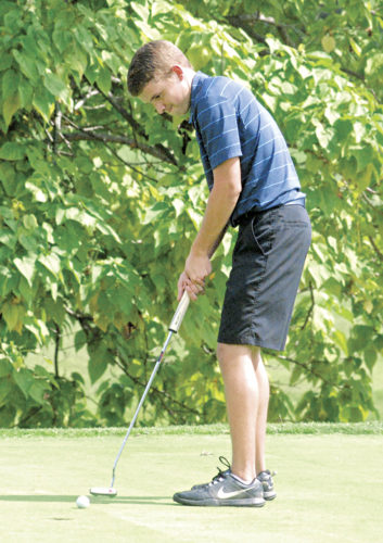 Parkersburg Catholic's Brice Ferrell putts during the Little Kanawha Conference Championships Monday at the Golf Club of West Virginia. Ferrell carded a 76 to earn LKC Player of the Year honors. Photo by Jordan Holland.